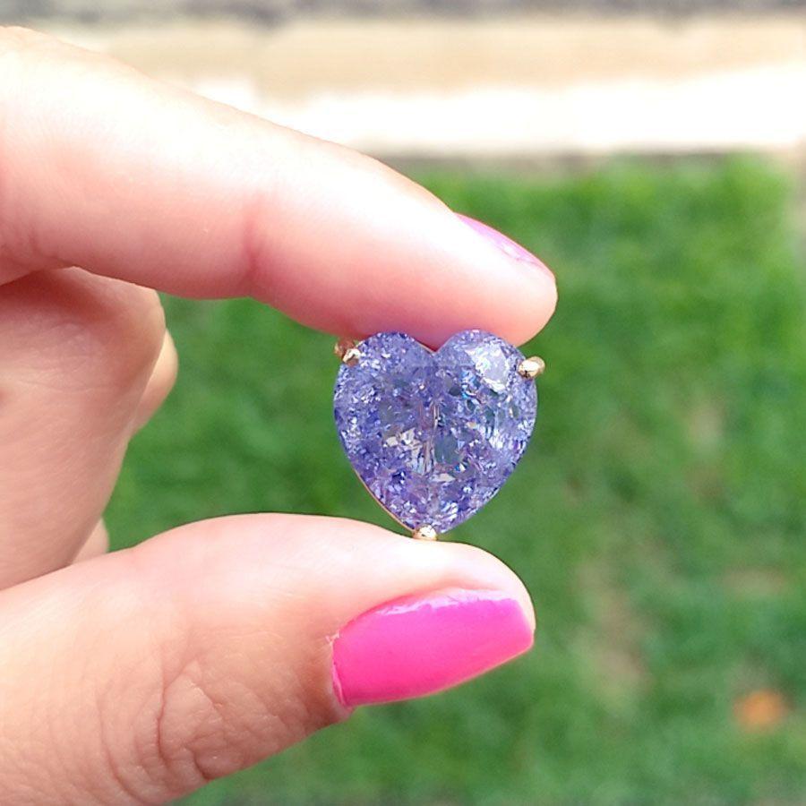 Colar Coração Grande Pedra Fusion Lilas Folheado A Ouro 18k