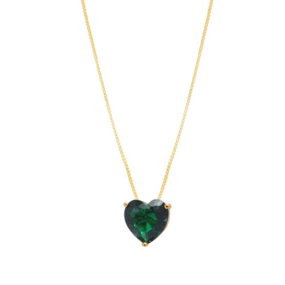 Colar Coração Grande Pedra Fusion Verde Folheado A Ouro 18K