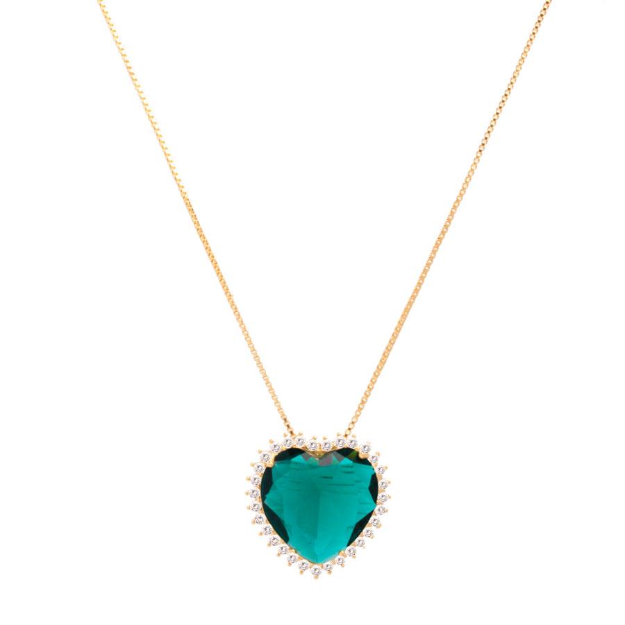 Colar Coração Pedra Verde Detalhe Zircônia Folheado a Ouro 18k