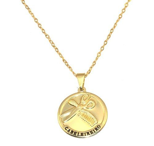 Colar Cordão Medalha Cabelereiro Folheado Ouro 18k