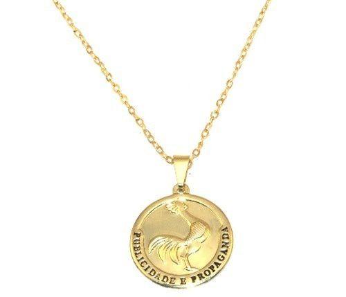 Colar Cordão Medalha Publicidade Folheado Ouro 18k