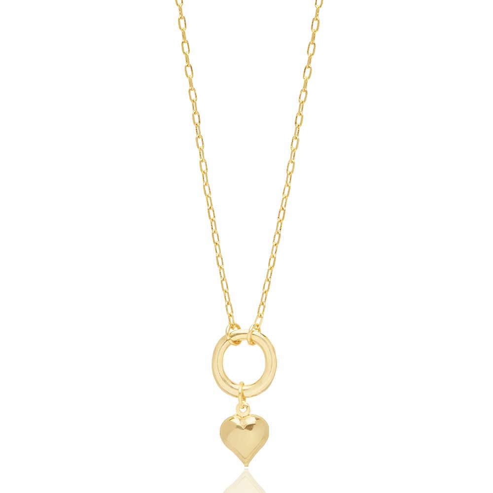 Colar Corrente Cartier Coração De Chapa Folheado A Ouro 18k
