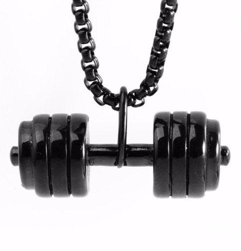 Colar Corrente Halteres Peso Fitness Folheado Ouro - 60 Cm