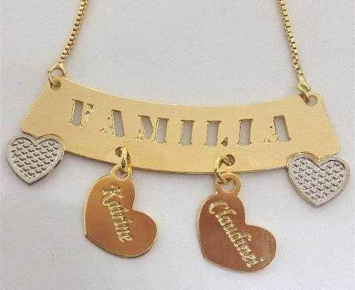 Colar Corrente Personalizado Familia Nomes Folheado Ouro 18k