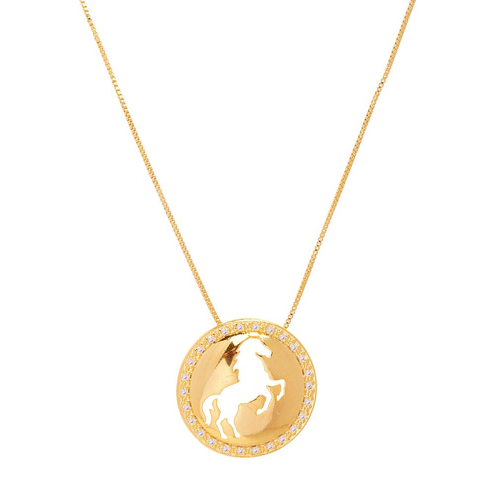 Colar Country Cavalo Cravejado de zircônias folheado ouro 18k