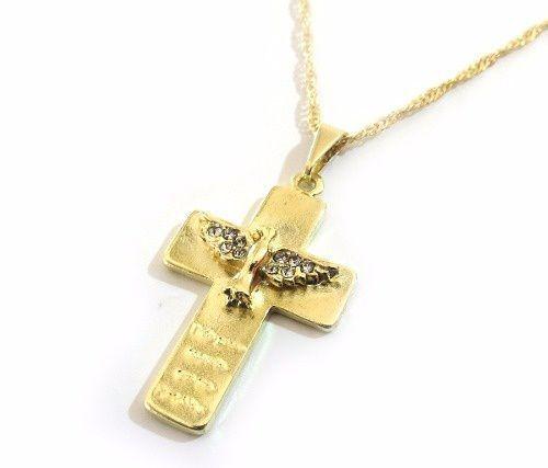 Colar Cruz Crucifixo Divino Espirito Santo Folheado Ouro 18k