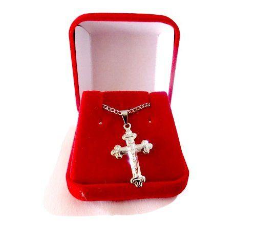 Colar Cruz Jesus Cristo Aço Inox Com Caixinha Veludo