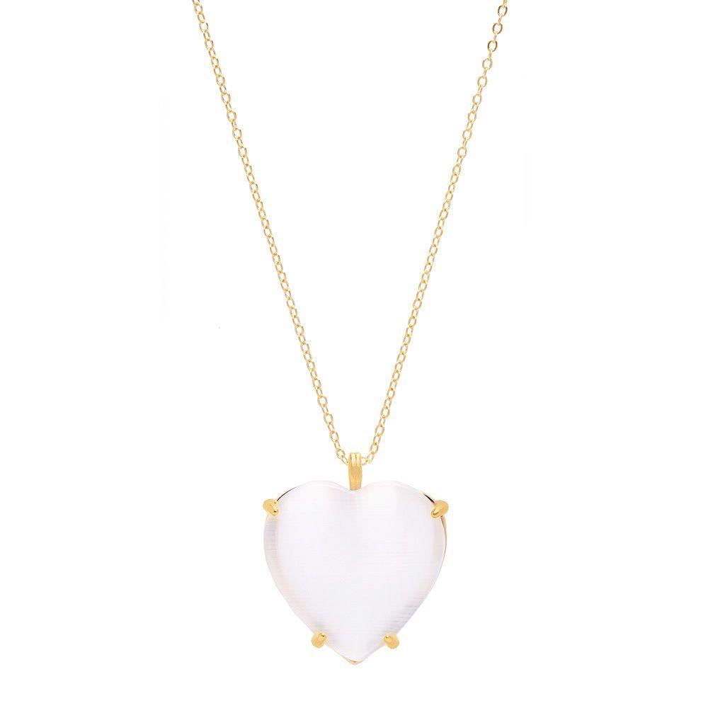 Colar De Coração Com Pedra Calcedônia Olho de Gato Branca Folheado A Ouro 18k
