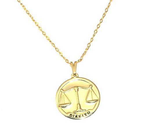 Colar Direito Advogada Balança Da Justiça Folheado Ouro