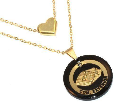 Colar Duplo Comércio Exterior Folheado Ouro 18k Com Coração
