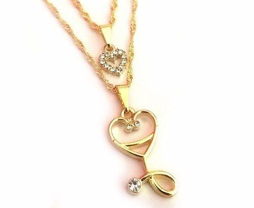 Colar Duplo Coração Enfermagem Esteto Coração Folheado Ouro