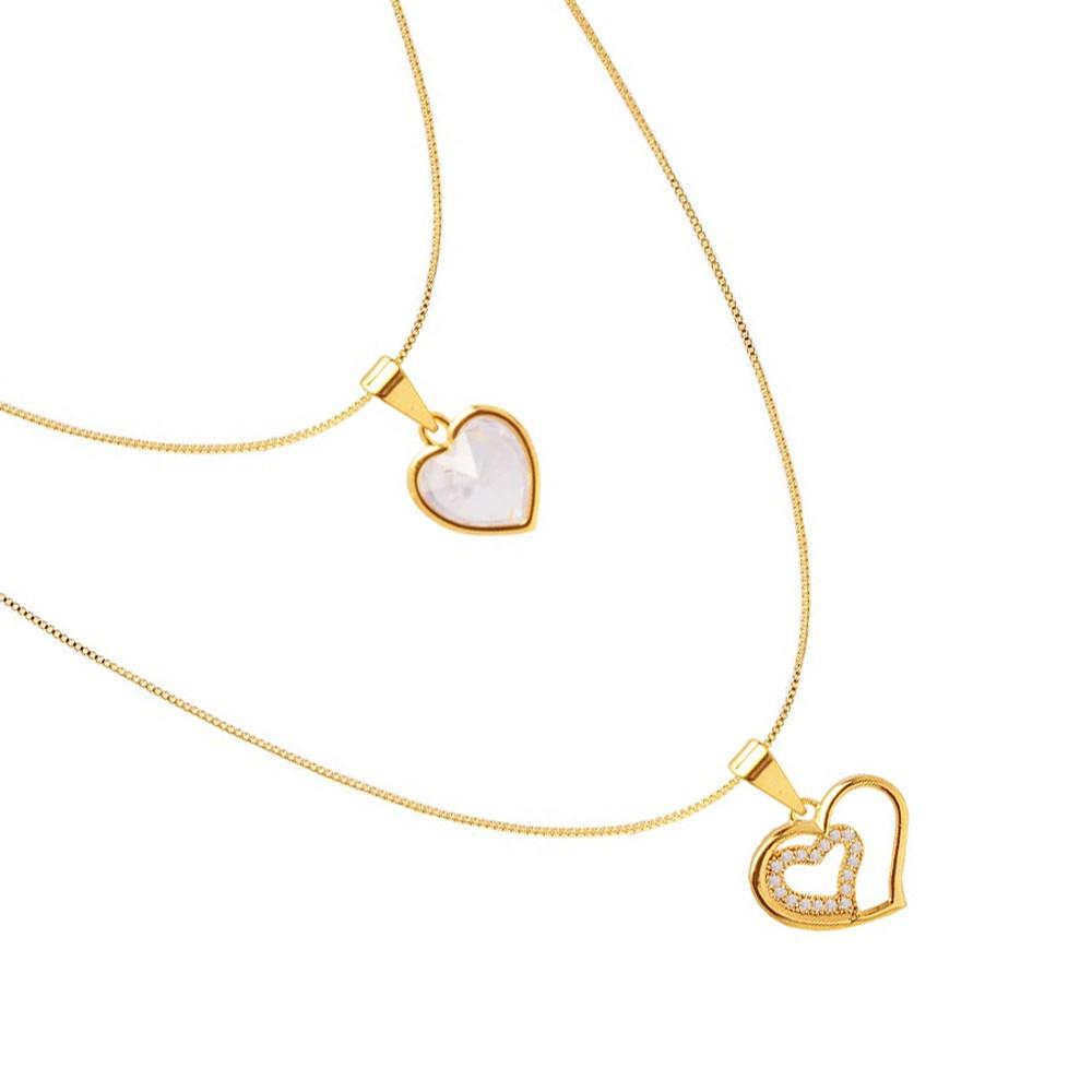 Colar Duplo Corações Cravejadas de Zirconia Folheado A Ouro