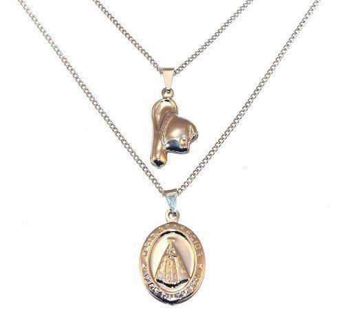 Colar Duplo Country Chapéu Medalha De Aparecida  Inox