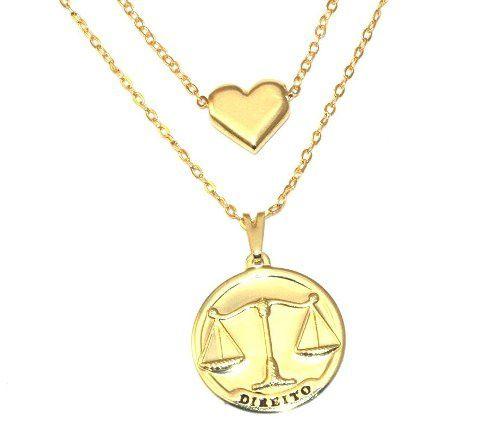 Colar Duplo Direito Justiça Advogado Com Coração Folheado