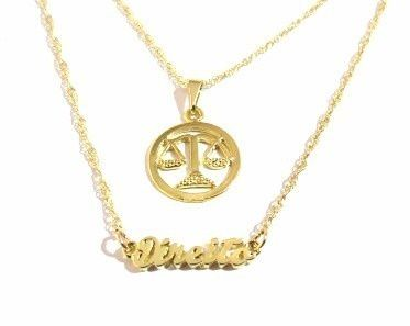 Colar Duplo Profissões Direito Justiça Folheado A Ouro 18k