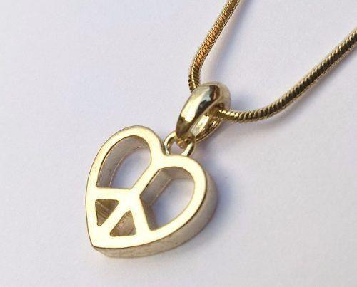 Colar E Pingente Coração Simbolo Da Paz Folheado A Ouro 18k