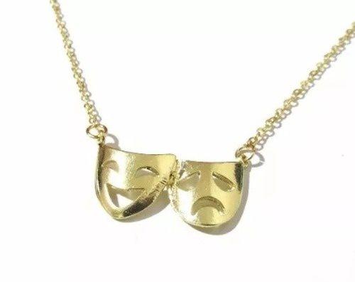 Colar Máscara Teatro Folheado Ouro 18k