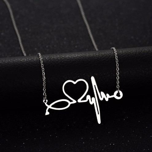 Colar Enfermagem Batimentos Do Coração Folheado A Prata