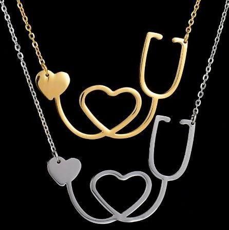 Colar Enfermagem Esteto Folheado Ouro / Prata / Níquel