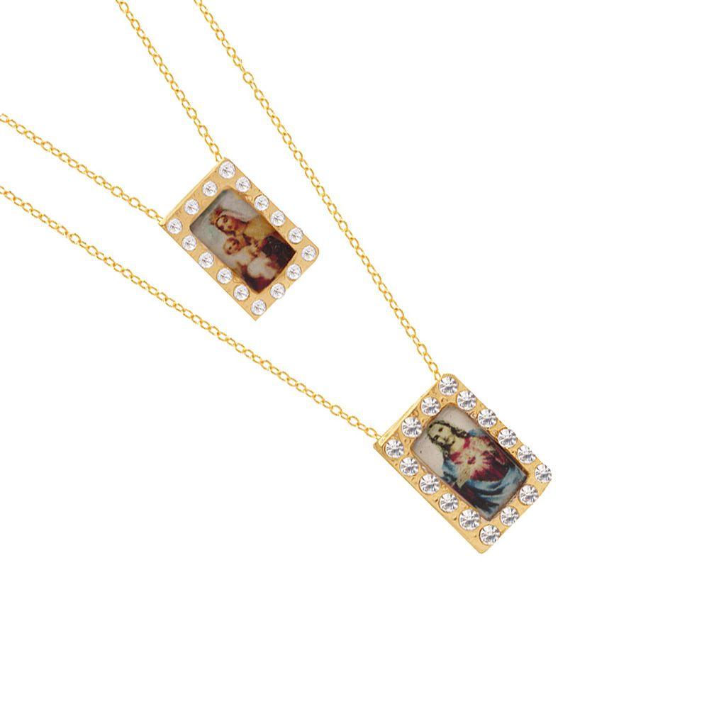 Colar Escapulário Nossa Senhora Do Carmo E Sagrado Coração Jesus Folheado A Ouro Estoque Limitado