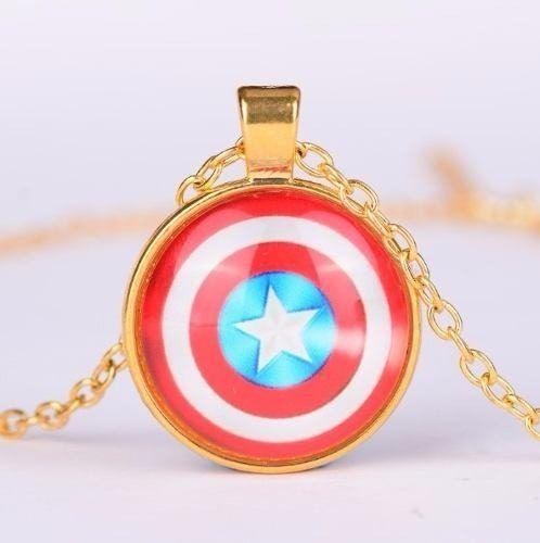 Colar Escudo Capitão America Folheado A Ouro X