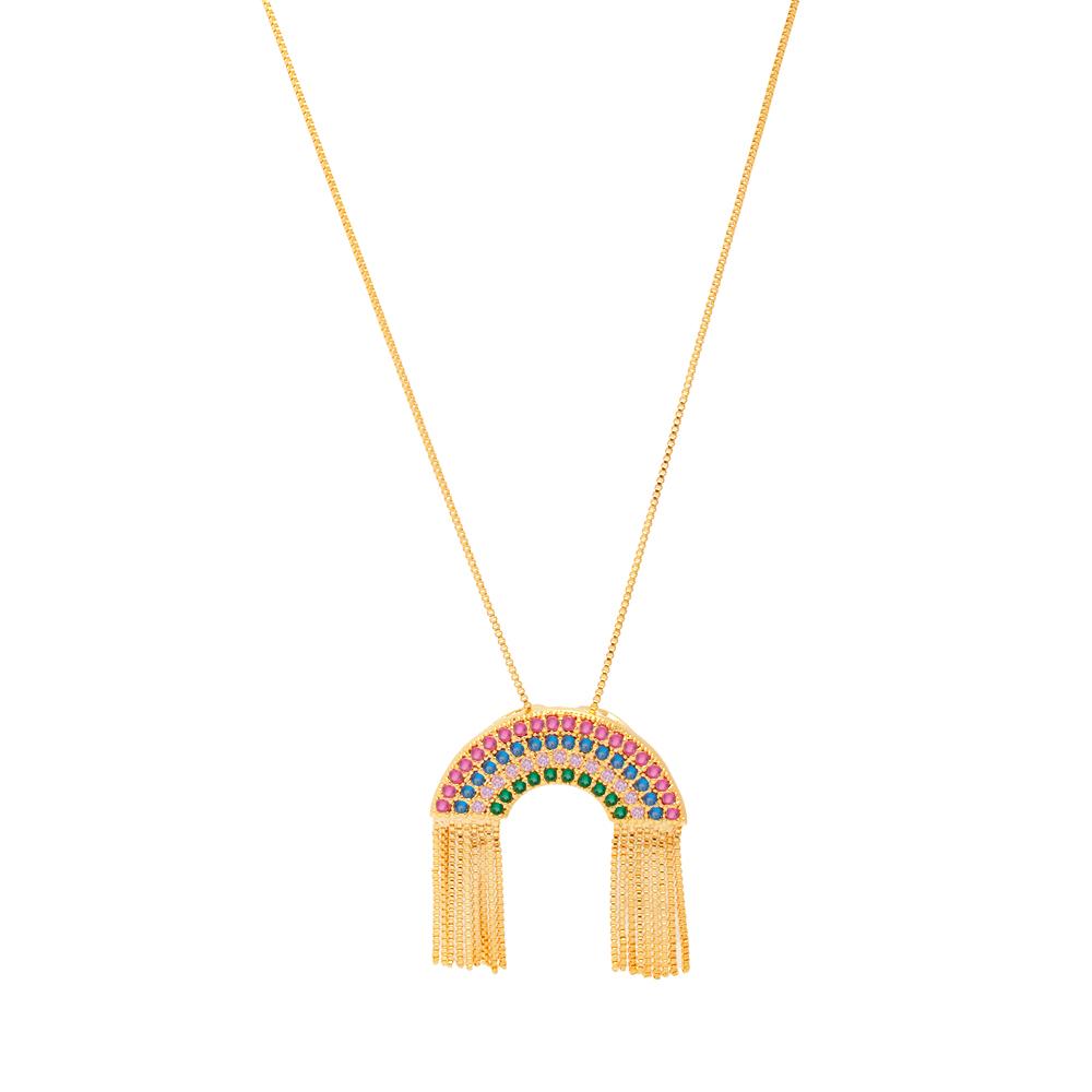 Colar Folheado arco íris felicidade folheado em ouro 18k