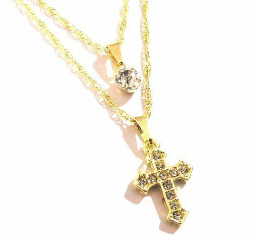 Colar Gargantilha Duplo Cruz Crucifixo Folheado A Ouro 18k