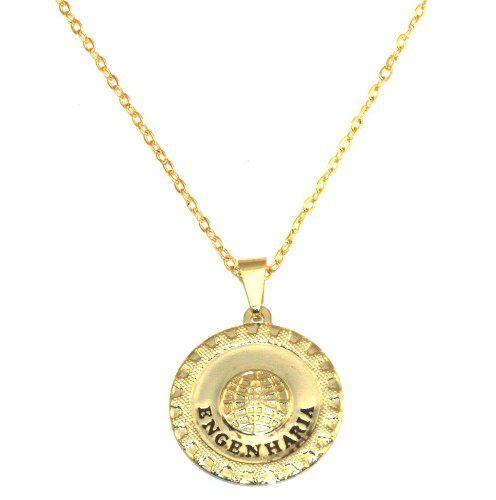 Colar Gargantilha Medalha Engenharia Folheado Ouro 18k
