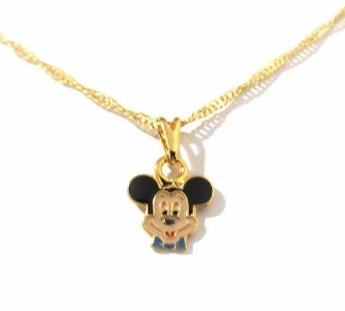 Colar Gargantilha Mickey Mouse Folheado A Ouro.
