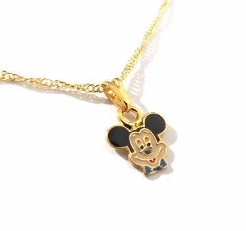 Colar Gargantilha Mickey Mouse Folheado A Ouro Disney