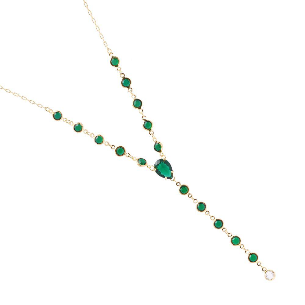 Colar Longo Pedra Gota Fusion Verde e Cristal Verde Folheado A Ouro 18k Premium