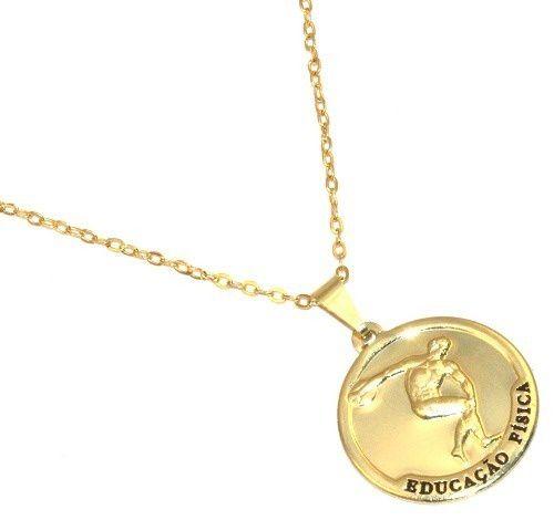 Colar Medalha Educação Fisica Discóbolo De Myró Folheado