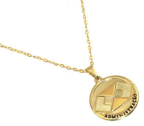 Colar Medalha Profissão Administração Folheado Ouro 18k