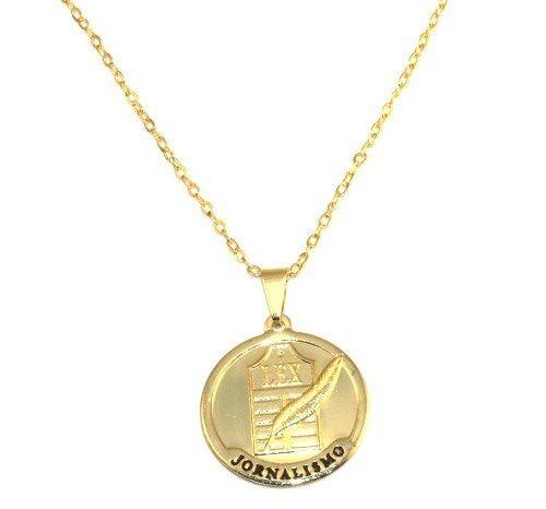 Colar Medalha Profissão Jornalismo Folheado Ouro 18k
