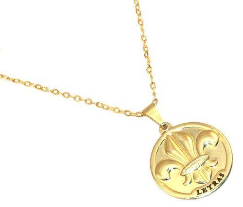 Colar Medalha Profissão Letras Portugues Folheado Ouro 18k