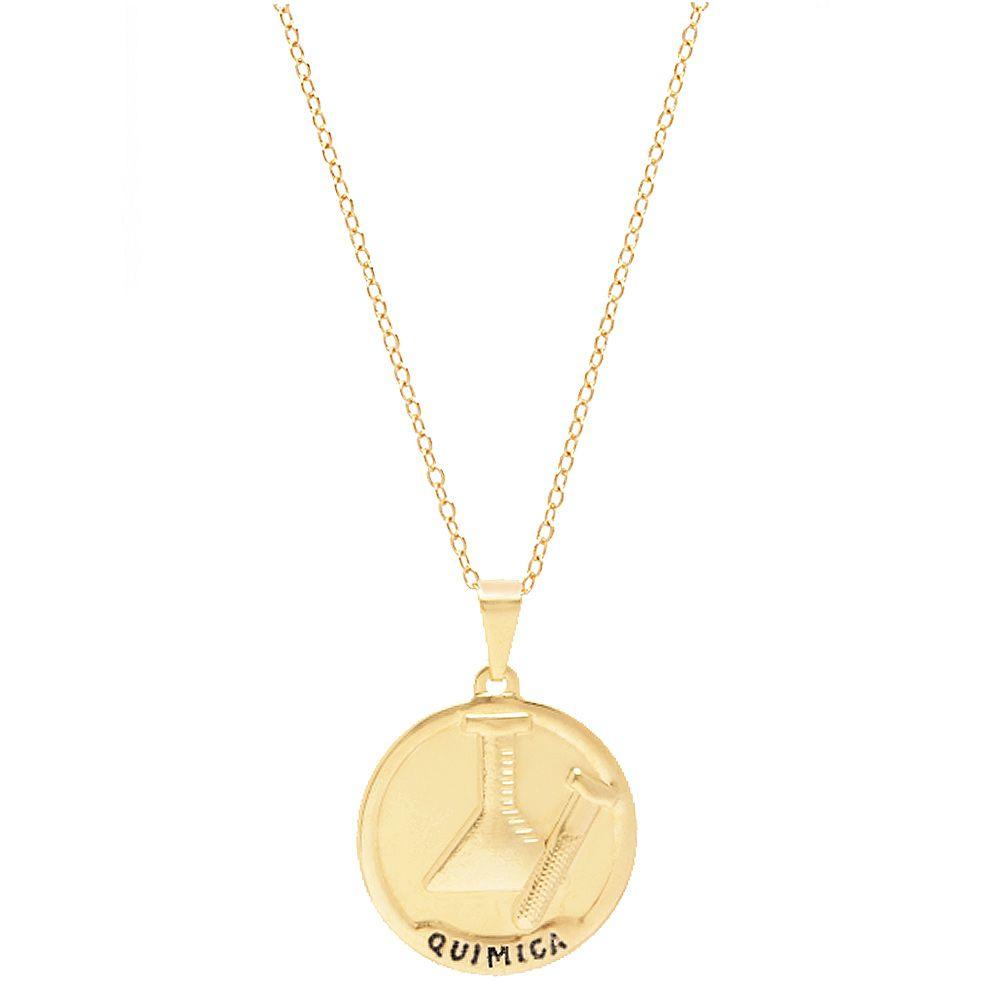 Colar Medalha Profissão Quimica Quimico Folheado Ouro 18k
