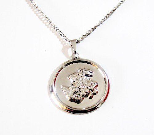 Colar Medalha São Jorge Aço Inox