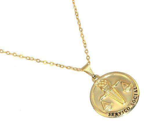Colar Medalha Serviço Social Assistente Social Folheado Ouro