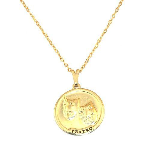 Colar Medalha Teatro Ator Folheado Ouro 18k