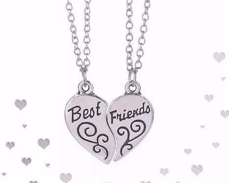 Colar Melhores Amigas Best Friends Forever Folheado