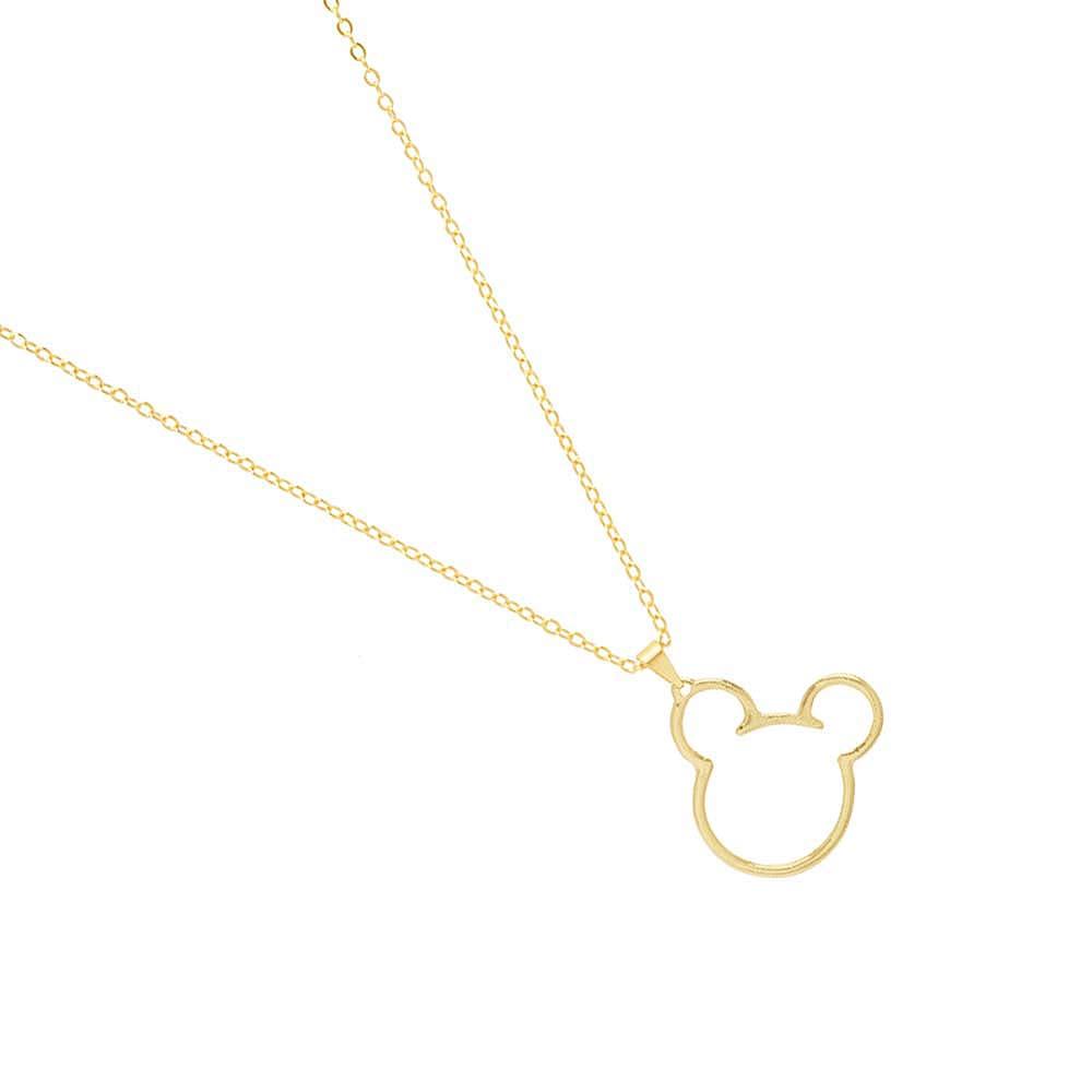 Colar Mickey Mouse Folheado A Ouro 18k