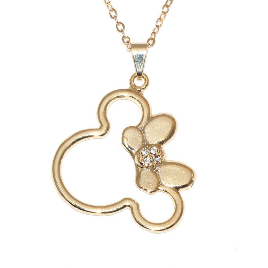 Colar Minnie Mouse Folheado A Ouro