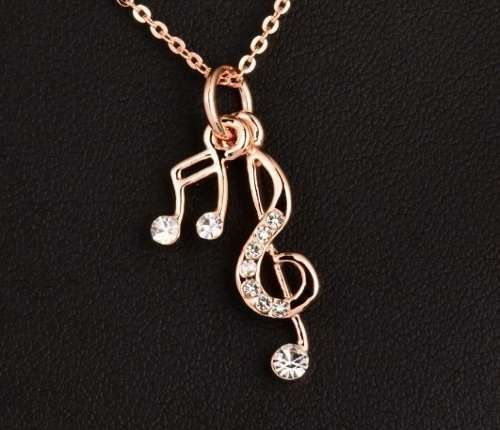 Colar Notas Musicais Folheado A Ouro