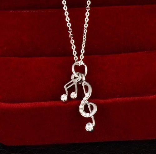 Colar Notas Musicais Folheado A Prata