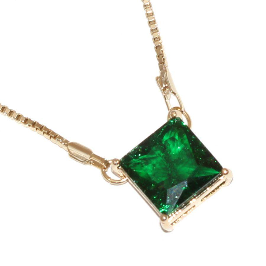 Colar Pedra Fusion Quadrada Verde Folheada Ouro