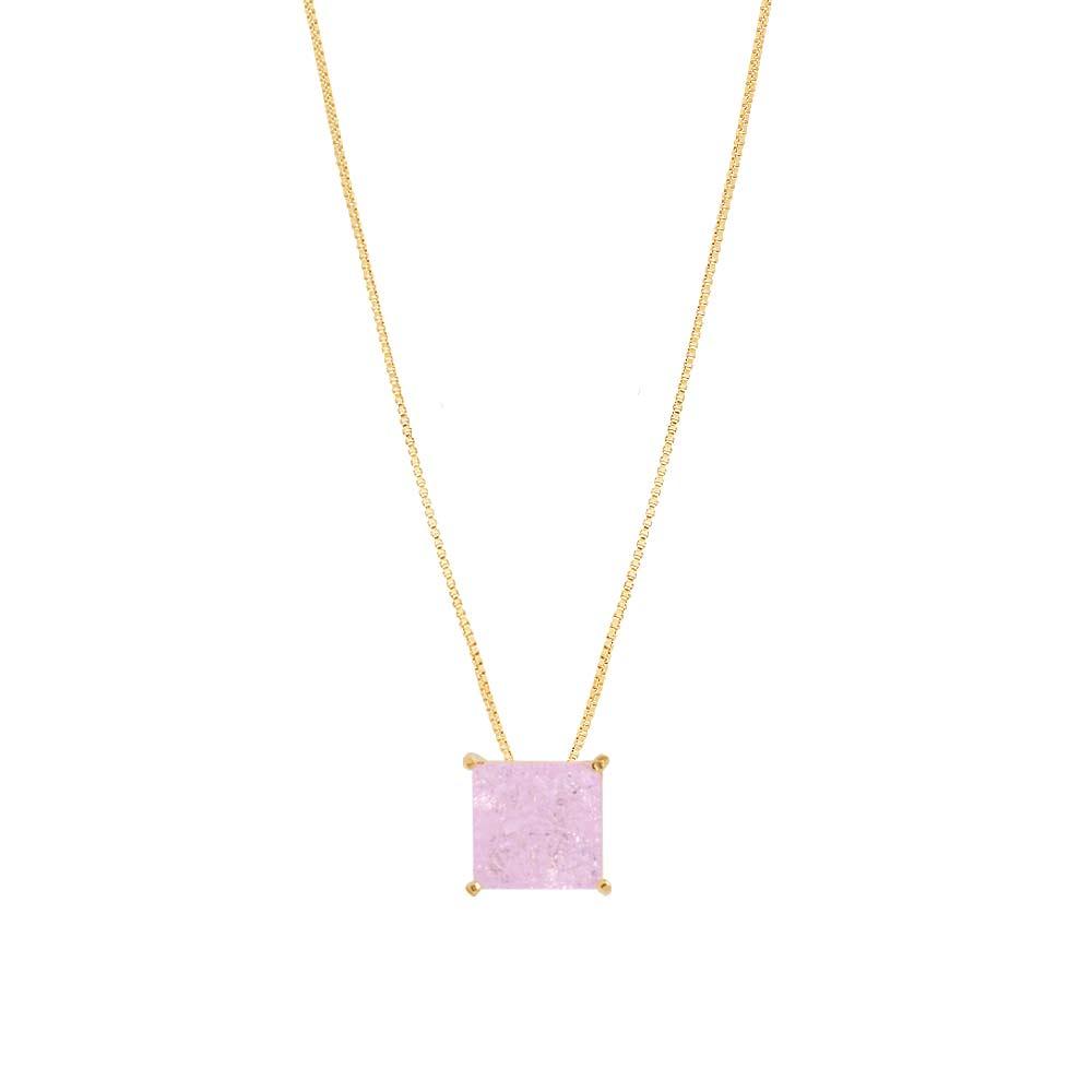 Colar Pedra Fusion Rosa Claro Folheado A Ouro 18k