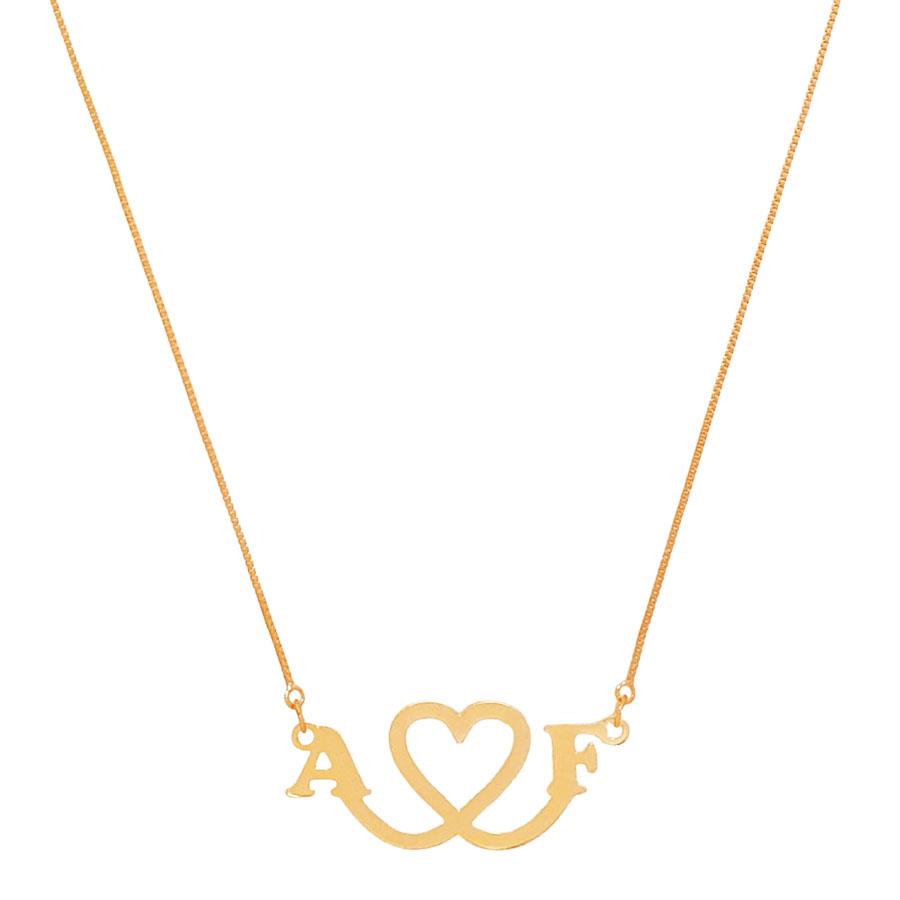 Colar Personalizado Coração Iniciais Love Casal Folheado Ouro 18k