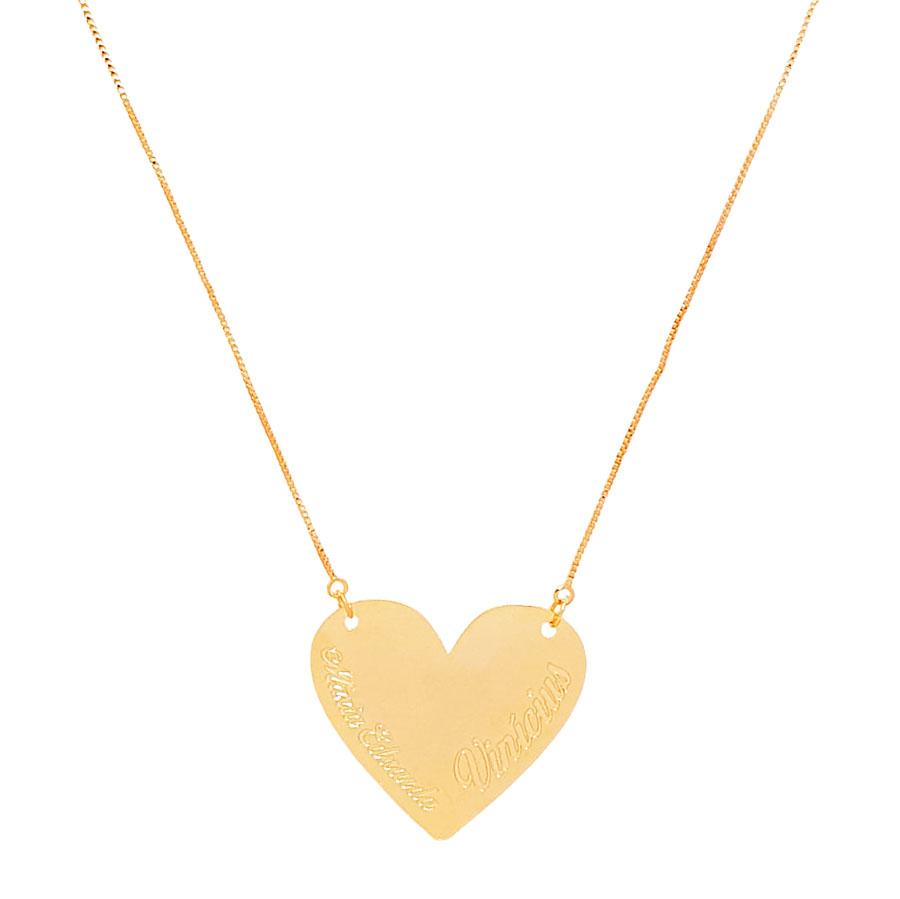 Colar Personalizado Coração Nome do Casal Love Folheado Ouro 18k