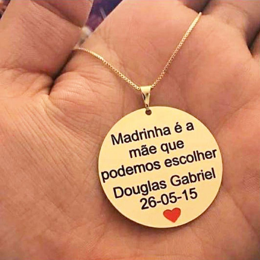 Colar Personalizado Madrinha Com Frase Nome Criança Folheado A Ouro 18k