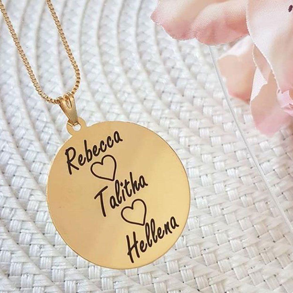Colar Personalizado Medalha Nome Filhos Folheado A Ouro 18k
